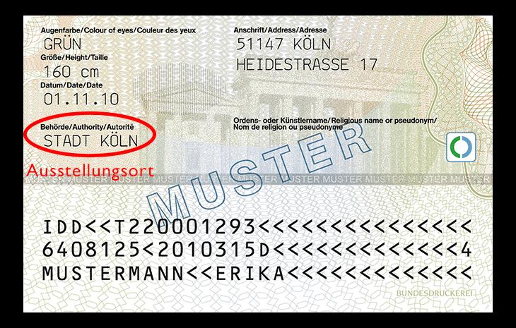 Deutscher Personalausweis Rückseite